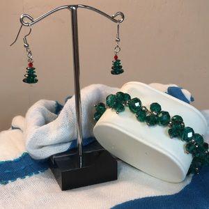Christmas Tree Earrings Matching Set
